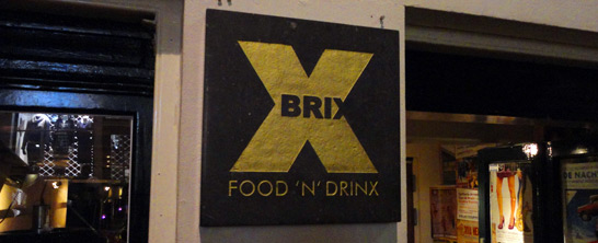 The sign at the entrance of Brix in the Wolvenstraat in Amsterdam