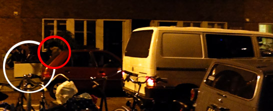 Tuesday night scavengers with white van in Amsterdam