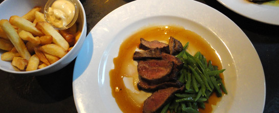 Steak with string beans at Lab111 in Amsterdam