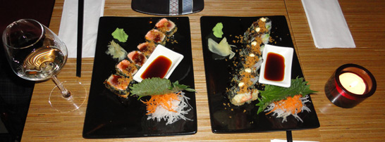delicious Crispy Salmon Tuna Sushi and Fried Yuki Sushi at Nooch in Amsterdam