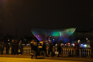 Aurora Borealis handkerchief over the Amstel, Amsterdam Light Festival 2012